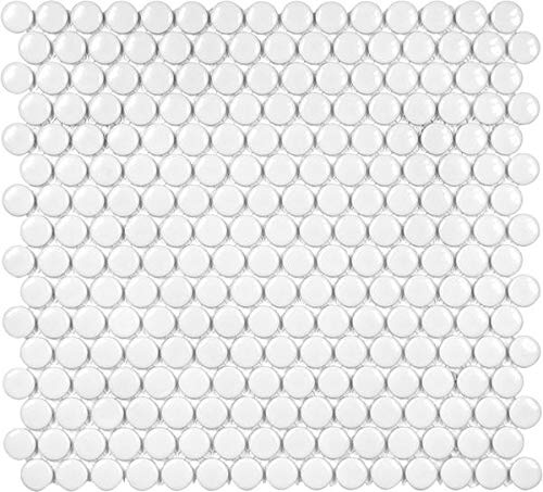 - 10 Sq Ft Box - 3/4 Inch White Glazed Porcelain Penny Round Mosaic Tiles