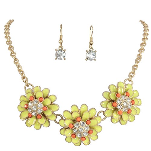 (Gypsy Jewels 3 Enamel Flower with Rhinestones Cluster Gold Tone Boutique Statement Necklace & Earrings Set (Yellow & Orange))