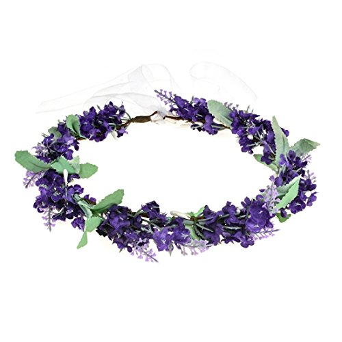 Vividsun Lavender Flower Crown Floral Wreath Headband Photo Props (purple)
