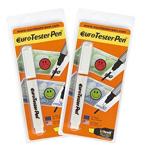 EURO TESTER PEN ® XL - Detector de Billetes Falsos (Fórmula Patentada) 2 Detectores