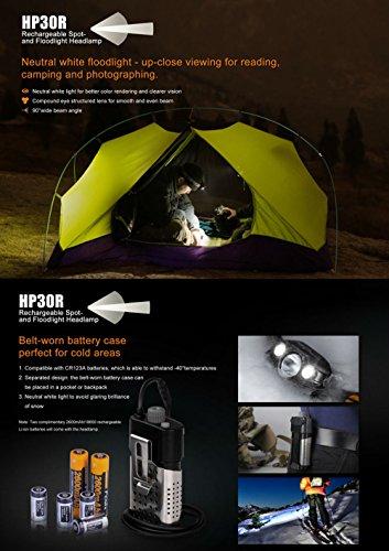 Fenix HP30R 1750 Lumen CREE LED Headlamp with 2 X Fenix 18650 Li-ion rechargeable batteries by Fenix (Image #4)
