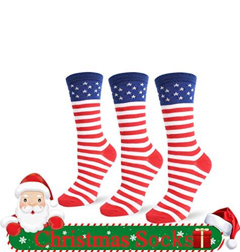 Jasmino Patriotic American Flag Stars & Stripes Socks for Womens Mens 1-3 Pairs (3Pairs USA Flag Crew Socks) ()