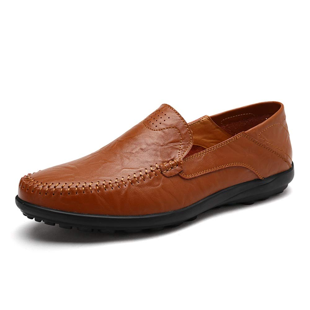 Hishoes Man Retro Driving Loafer Casual OX Leather Faux Fleece Inside Super Light Business Boat Moccasins Anti-Slip Conventional Optional