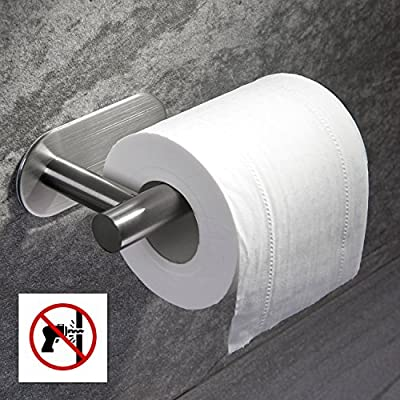 Taozun Toilet Paper Holder 3M Self Adhesive Bathroom Paper Towel Roll Holder Wall Mount, SUS 304 Stainless Steel