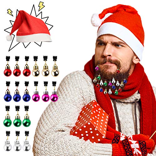 (R HORSE 21 Pack Christmas Beard Ornaments for Men Colorful Facial Hair Clips Christmas Santa Claus Beard Decoration 6 Colors 20 Pieces Beard Bulbs and 1 Christmas Hat)