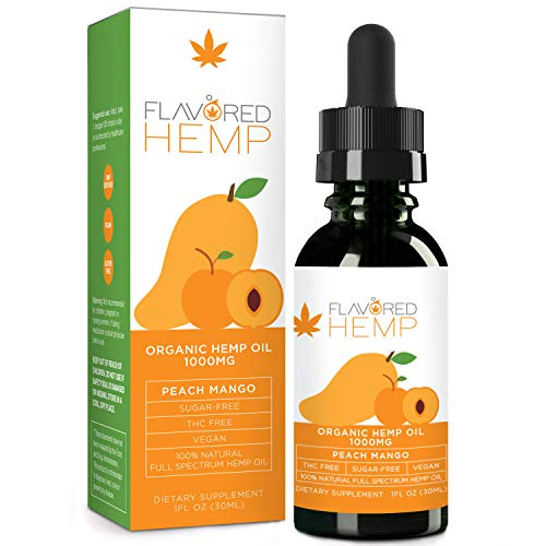 Hemp Oil - Peach Mango Flavor - 1000 MG - Natural Pain Stress Anxiety Relief & Improves Overall Health - Grown & Made in The USA