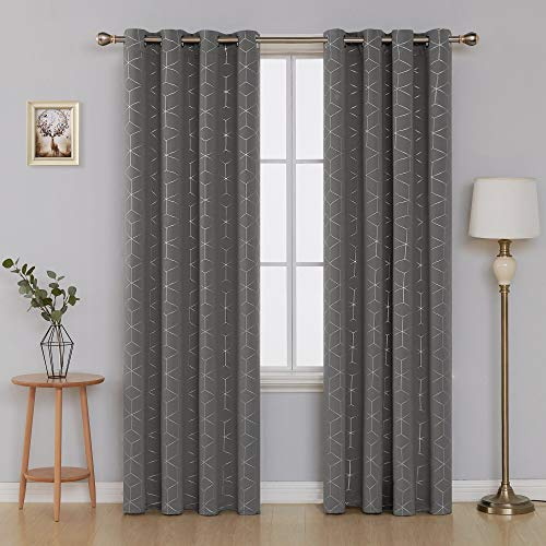 Deconovo Sliver Diamond Foil Print Room Darkening Curtain Thermal Insulated Blackout Curtains for Kids Room Light Grey 52x95 Inch 2 Panels