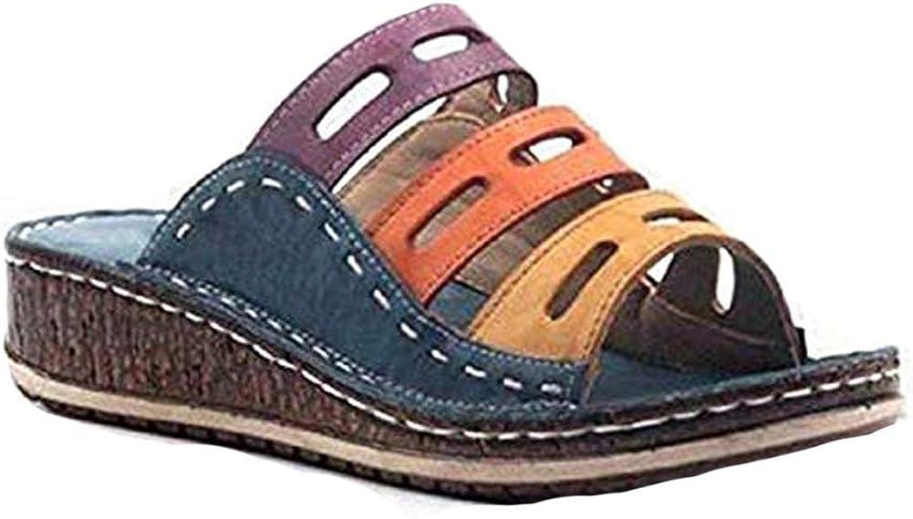Zooart Sandalias de Verano para Mujer, con Tres Colores de Costura, con tacón de cuña