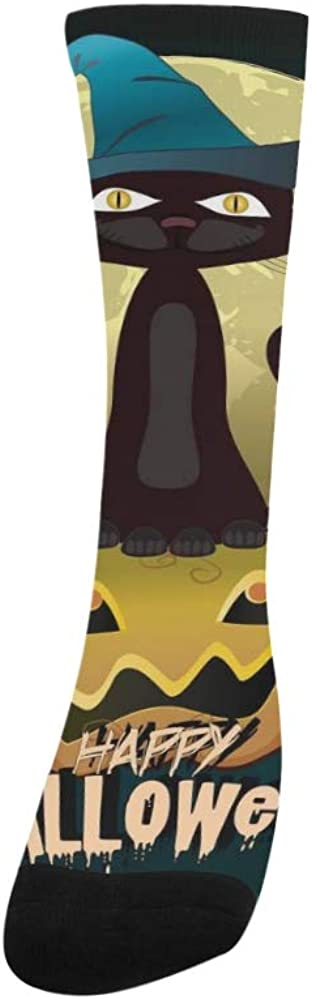 Black Cat Witches For Halloween Crazy Dress trouser Sock For Men Women kid