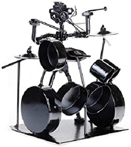Metal Musician Drum Player Statue Drummer&Drum Set Sculpture Figurine Ornament Cafe Counter Office Book Shelf Decoration
