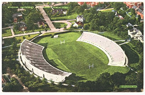 Aerial View Football Stadium (Tuscaloosa Campus - University of Alabama) Vintage Linen Postcard #28630N