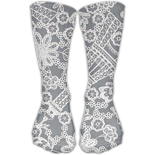Bed Head Eiffel Tower (Unisex Unique Design Eiffel Tower Lace Socks 30CM Socks Cotton/nylon/spandex.)