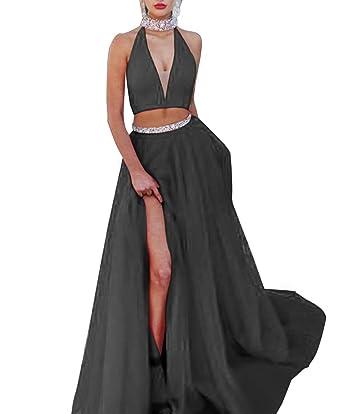 MEET Red Two Piece Prom Dresses Halter Top Beaded Satin Evening Prom Dress Side Slit Black