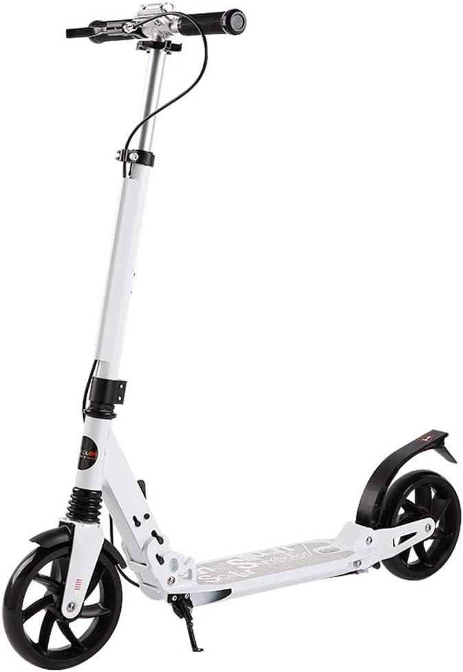 デュアルブレーキキックスクーター折りたたみ式アウトドアスポーツ、デュアルショック吸収システム付きスクーター、子供のためのアルミ合金通勤スクーター8歳まで最高の贈り物(ホワイト)