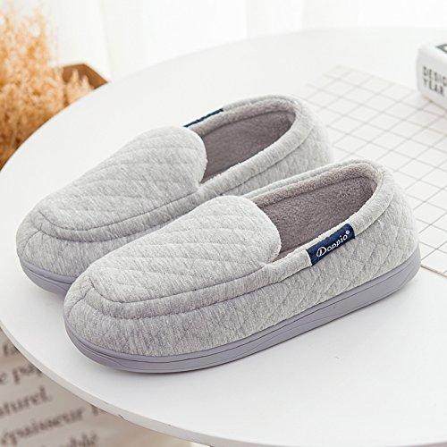 en Semelle chaussons de caoutchouc Accueil moelleux Padded Mâle Chaussures nbsp;Mesdames agréable gris d'Cotton LaxBa Parole Hq4CSxww