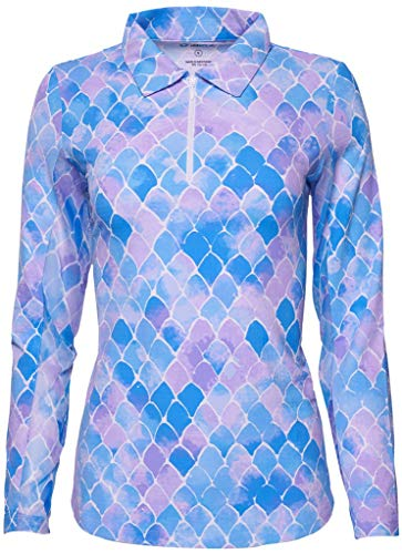 IBKUL Ladies Ariel Print Long Sleeve Polo Lavender Large