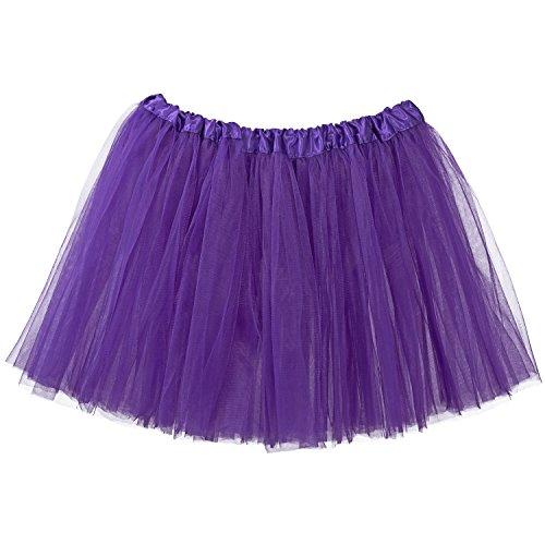 My Lello Adult Tutu Skirt, Classic Elastic 3 Layer Tulle Tutu for Women and Teens - Purple -