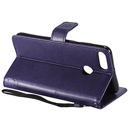 Etui Etui Case Rotin Style et Cuir violet de Y9 Fleur BONROY Huawei d'impression 2018 à arbre Vert Portefeuille chat Cover Slots Carte Support Housse Rabat qOaXt
