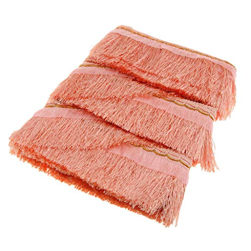 School Bees Border Trim - 1 Roll DIY Polyester Yarns Tassel Fringe Lace Trim Ribbon for Curtain Decor | Color - Shell Pink