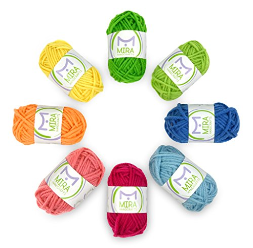 Mira Handcrafts 8 Acrylic Yarn Multicolor Skeins - DK Yarn Starter Kit - 7 Ebooks with Yarn Patterns Included - Crochet and Knitting Yarn for Beginners and Kids (Starter Everyday Kit)