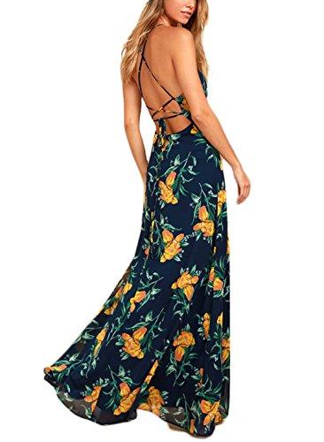 NERLEROLIAN Women's Sleeveless Halter Neck Sexy Floral Print Maxi Dress for Autumn Navyblue-L