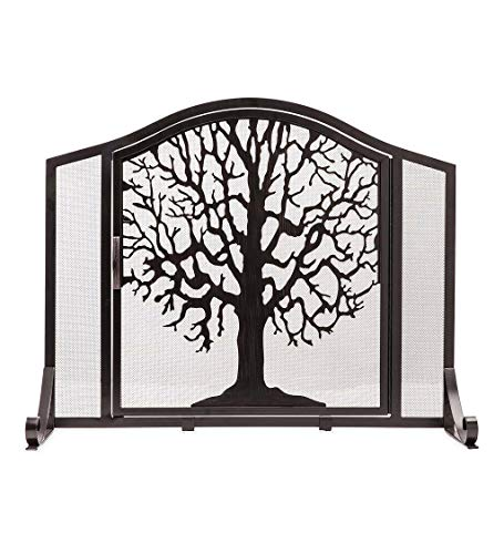- Plow & Hearth Small Tree Life Metal Fireplace Screen Single Hinged Door, Free Standing Spark Guard, 38 W x 31 H x 11.5 D, Black Gold Flecked