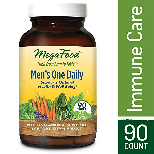 MegaFood - Men's One Daily, Multivitamin Support for Healthy Energy Levels, Prostate Function, Mood, and Bones with Zinc and B Vitamins, Vegetarian, Gluten-Free, Non-GMO, 90 Tablets (FFP)