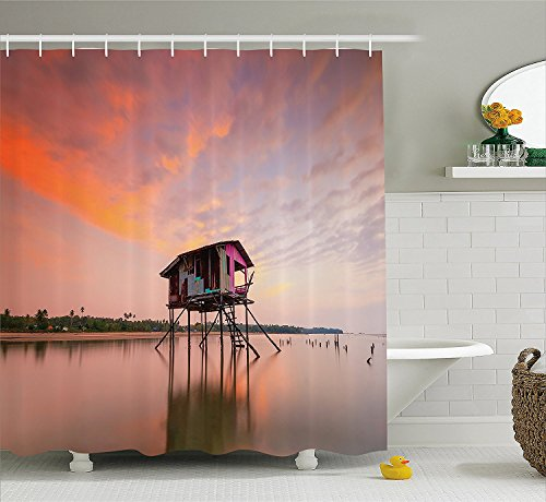 [Rustic Home Decor Shower Curtain Single House at Sunset after Flash Flood Water inAsian Malaysian Village Fabric Bathroom Decor Set with Hooks] (The Pope Costume At The White House)
