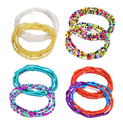 Sunmoon 12Pcs Beads Waist Set for Women Girls African Beaded Body Chain Waist Belly Chain Stretchy Elastic String Multi-Color Necklace Bracelet Anklet Sexy Bikini Summer Jewelry ()