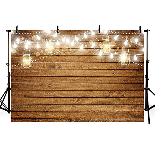 MEHOFOTO Rustic Baby Shower Wood Photography Backdrops Props Shining Bulbs Bottles Wooden Birthday Wedding Bridal Shower Party Decoration Photo Studio Booth Background Banner -