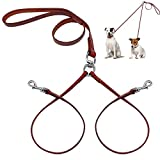 PET ARTIST No Tangle Dog Leash Coupler Double Leather Leash-2 Way Tangle Free Dog Splitter-Brown 4.2 feet Length-Fit Puppy Medium&Small Dog Daily Walking Two Dogs