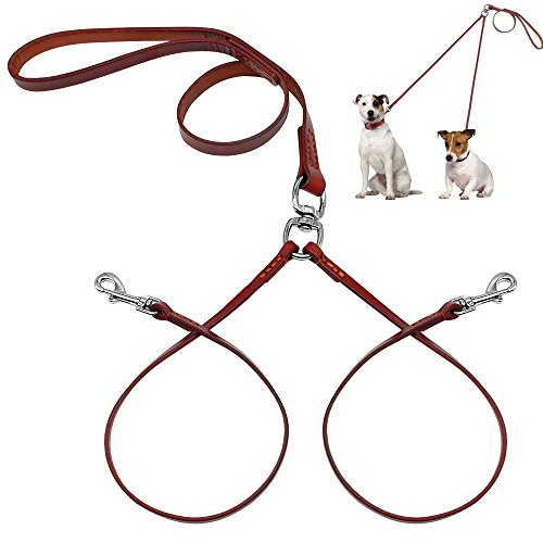 - PET ARTIST No Tangle Dog Leash Coupler Double Leather Leash-2 Way Tangle Free Dog Splitter-Brown 4.2 feet Length-Fit Puppy Medium&Small Dog Daily Walking Two Dogs