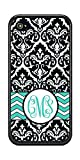 Monogrammed Teal Black Damask Chevron iPhone Case by Sherrys Stock TM (iPhone 5 5s SE)