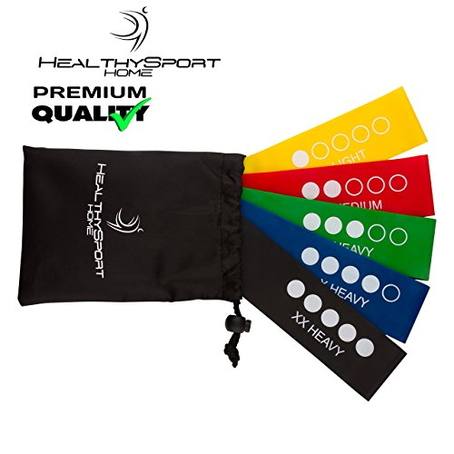 HealthySport Premium-Quality Resistance Loops - Exercise Bands for Legs and Butt for Women & Men - Set of 5 - Carry Bag - Build Perfect Glutes - those high, rounded, bounce-a-quarter-off-'em bums