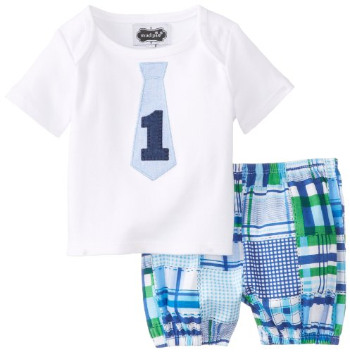 Mud Pie Baby Boys' I'M One Tee with Plaid Diaper Cover Set, Blue/Green, 12 18 (Madras Style Plaid Pants)