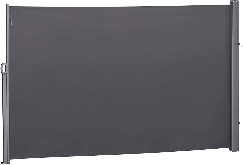 Outsunny Pantalla de Toldo Lateral Retr/áctil para Terraza Patio o Jard/ín de Mampara de Privacidad para Exterior Plegable Gris 300x180cm
