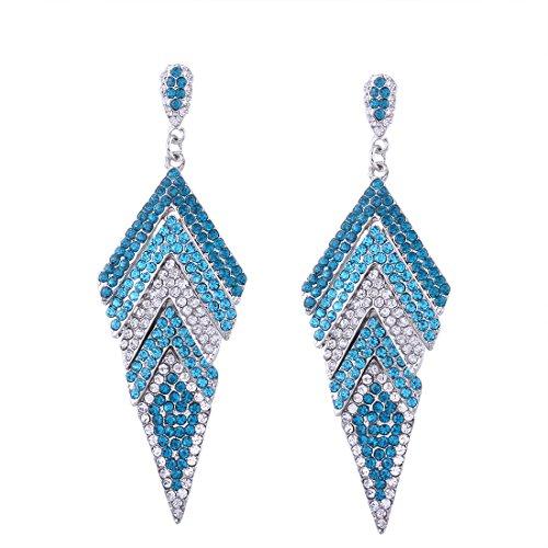 Diamond Geometric Earrings (I'M KING Stylish Personalized Geometric Diamond Shape Rhinestone Danglers Earrings (Blue))