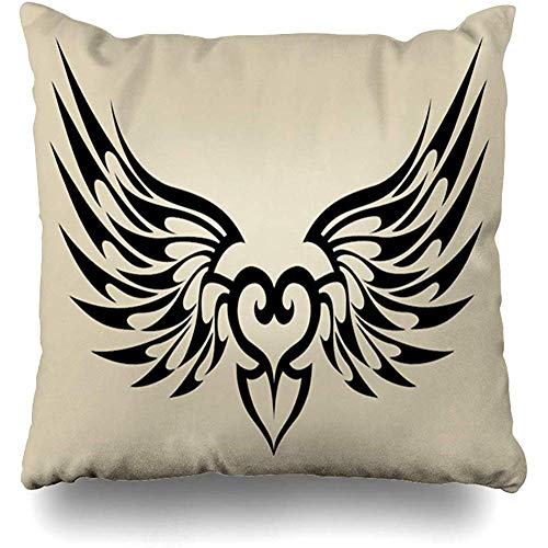 (Throw Pillow Cover Classic Angel Wings Heart Tattoo Tribal Classical Certificate Divider Document Design Decorative Pillow Case Decor Square Size 18x18 Inches Home Pillowcase)