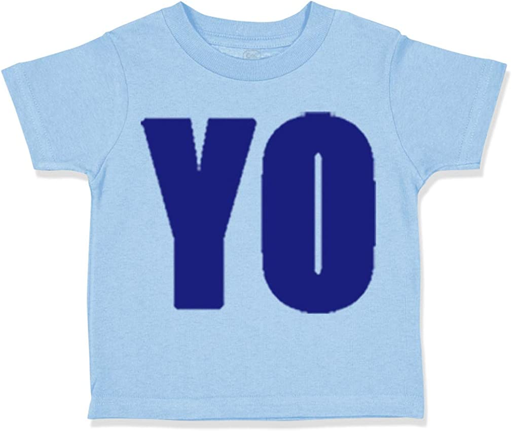 Custom Toddler T-Shirt Blue Word Yo Cotton Boy /& Girl Clothes Funny Graphic Tee