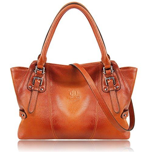 Genuine Leather Organized Tote Handbag - YOLANDO Women Genuine Leather Zipper Tote Bag Top-handle Handbags Large Capacity Ladies' Purse YTG03 (Brown)