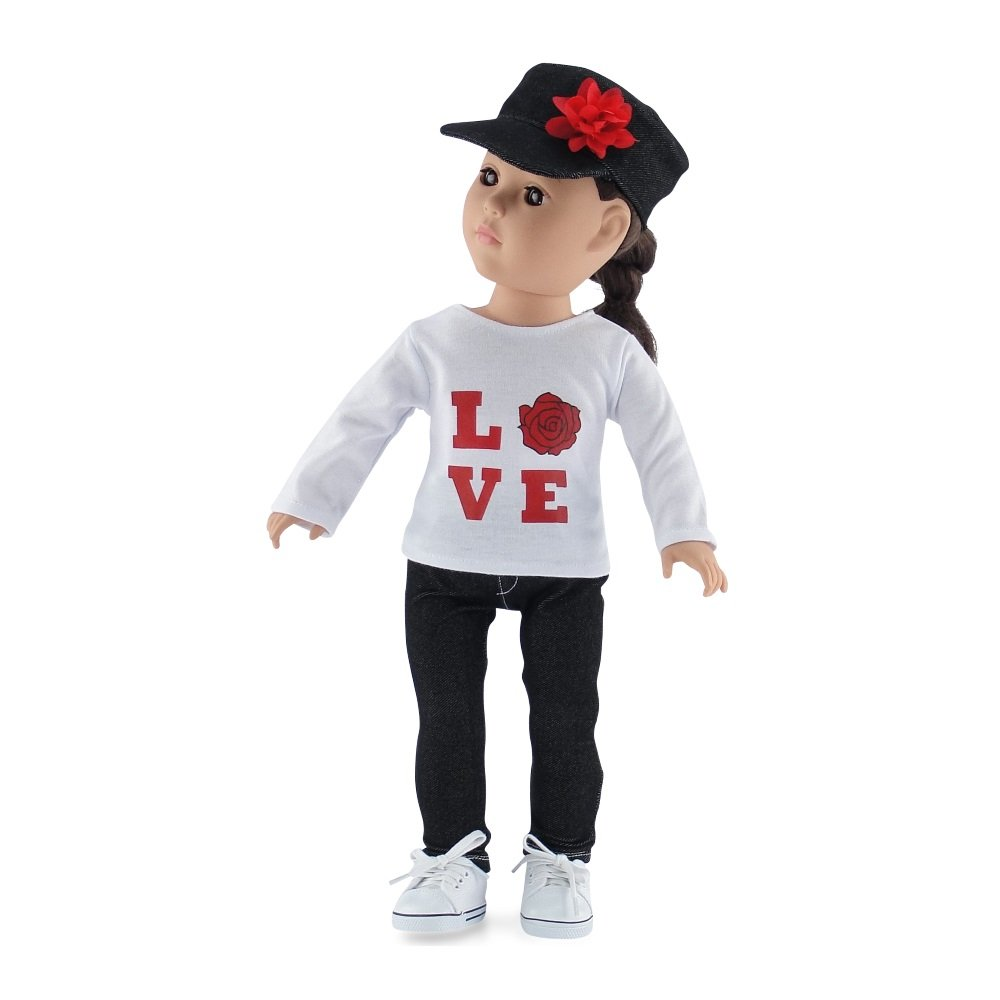Including Long Sleeved T-Shirt with Love Rose Graphic and Denim Hat Fits American Girl Dolls Including Long Sleeved T-Shirt with Love Rose Graphic and Denim Hat 18 Inch Doll Clothes Fits American Girl Dolls Black Stretch Skinny Jeans Outfit