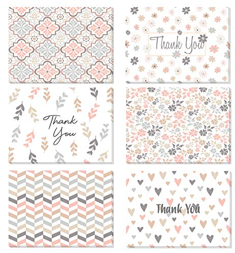 (48 count) Pastel Thank You Cards Set with Envelopes - Professional paper with grey blue pink designs and blank white inside - Bulk Pack of notes for baby or bridal shower wedding birthday party