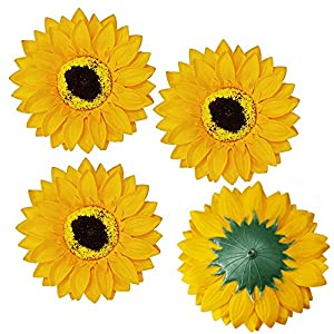 "Supla 30 Pcs Fake Sunflower Artificial Small Sunflower Heads in Yellow - 3.5"" L X 3.5"" W for Sunflower Wedding Fall Autumn Party Floral Wreath Accessories 109"