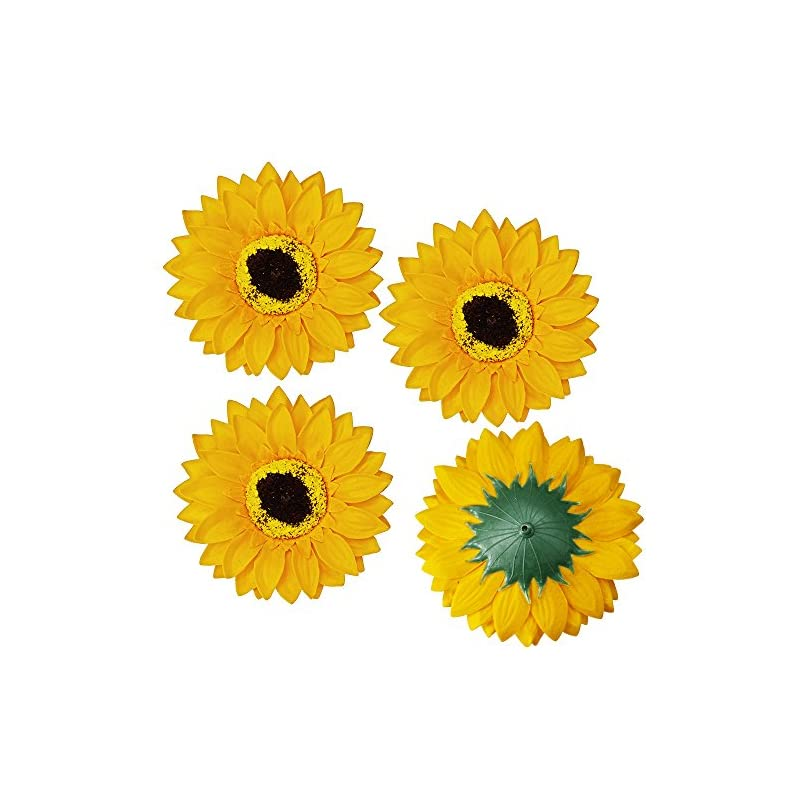 """silk flower arrangements supla 30 pcs fake sunflower artificial small sunflower heads in yellow - 3.5"""" l x 3.5"""" w for sunflower wedding fall autumn party floral wreath accessories"""