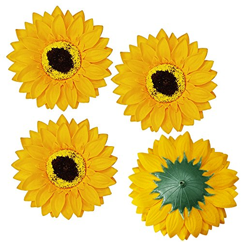 Supla 30 Pcs Fake Sunflower Artificial Small Sunflower Heads in Yellow - 3.5 L X 3.5 W for Sunflower Wedding Fall Autumn Party Floral Wreath Accessories