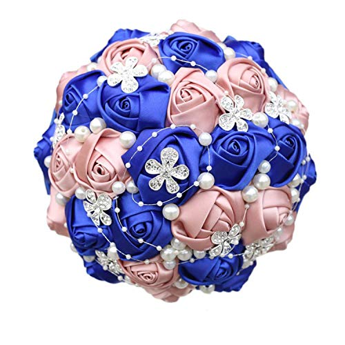 Handmade Ribbon Wedding Rose Flowers Rhinestone Bridal Bouquets Pearl Holding Bouquet Fleur Artificielle 18 -