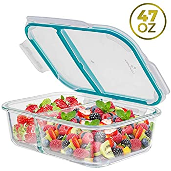 47 OZ Glass Meal Prep Containers 2 Compartments - Glass Food Storage Containers Food Prep Containers with Lids, Airtight Food Storage Containers, Glass Bento Box Lunch Containers