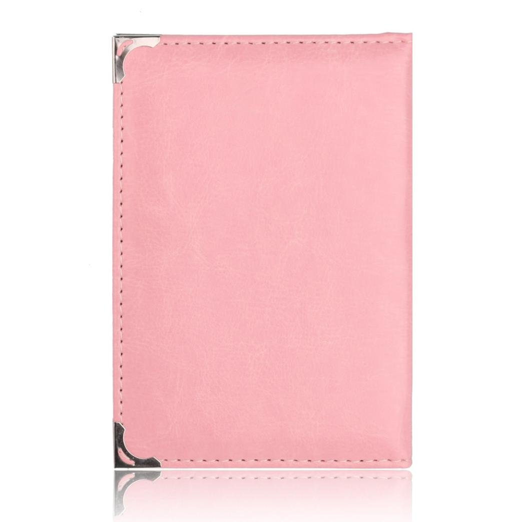 Lanhui Unisex Solid Multi Card Position Bag Certificate Passport Package Women L W H 0.5cm 14.2cm Pink, 9.8cm