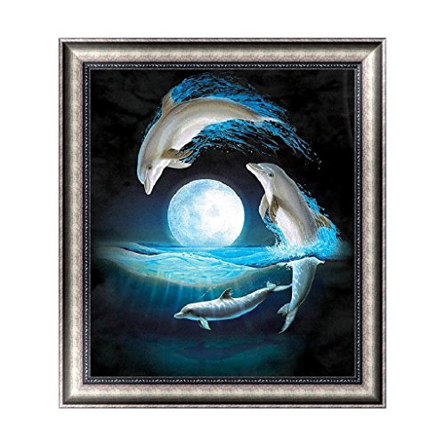 - BloomingJS Night Moon Dolphins 5D Diamond Embroidery Painting Cross Stitch DIY Craft Decor
