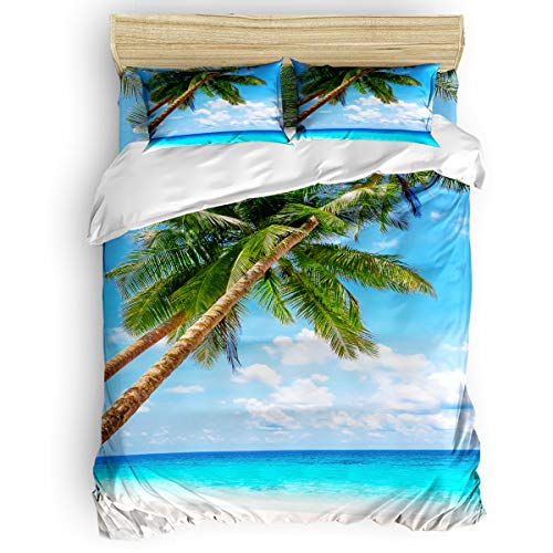 King Island Bed (Fandim Fly Bedding Set King Size, Beach Scene Tropical Palm Tree Sunny Island Beach Scene Picture Comforter Cover Sets for All Season)